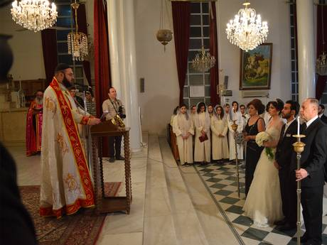Ilana Hacho and Malek Aissa were married in Qamishli's Church of the Holy Virgin this week (Mohammed Al-Harawi)