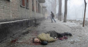 A victim of the Ukrainian bombardment of Donetsk on Jan 30, 2015. According to OSCE reports, the death toll of the civil conflict in the East of Ukraine has exceeded 5000 people.