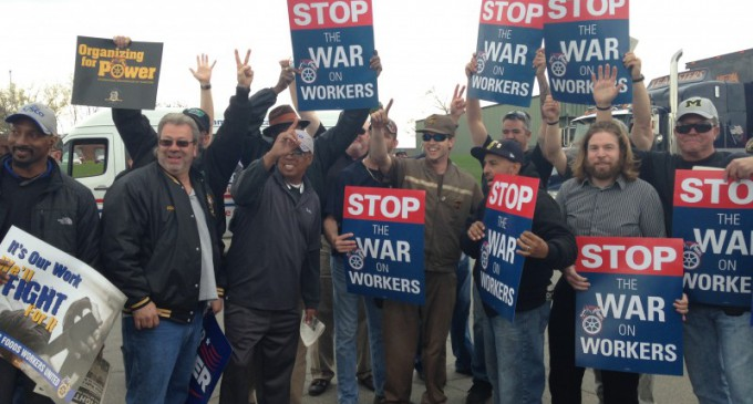 Michigan workers rally for the union at Sysco