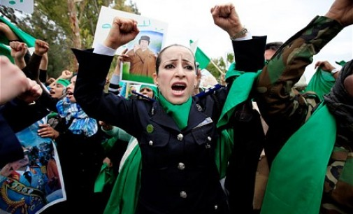 Gaddafi's loyalists staged the protest in eastern Libya