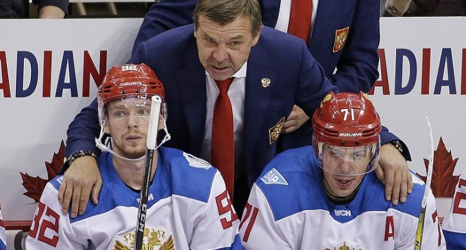 Russian national ice hockey team defeats North America in World Cup match