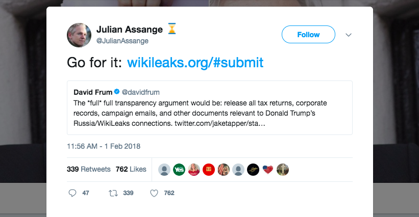WikiLeaks Solicits More Leaks On Trump Admin And Russia