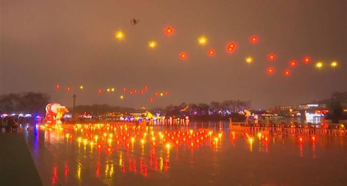 300 drones put on light show to celebrate Chinese New Year