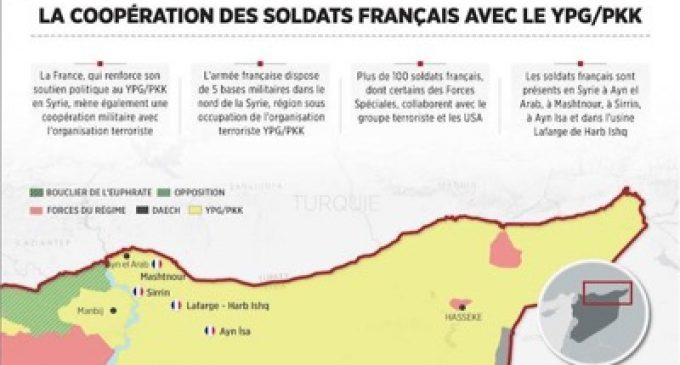 Turkey publishes the whereabouts of five secret military bases in Syria that belong to France