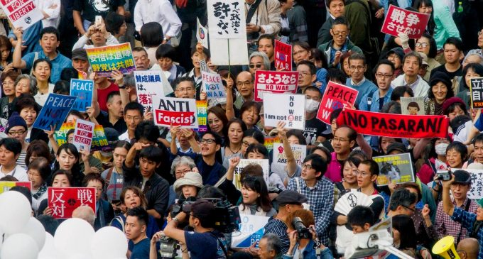 Protests Sweep Japan to as Right-Wing Government Pushes for Further Militarization