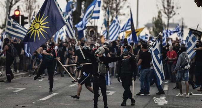 Protesters clash with police as Greek PM unveils his vision for future