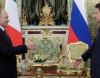 The Stone Guest at the table with Italy and Russia, by Manlio Dinucci
