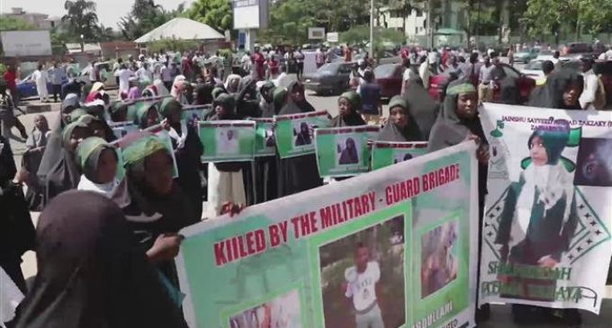 People stage protest against Nigerian army's killing of Muslims
