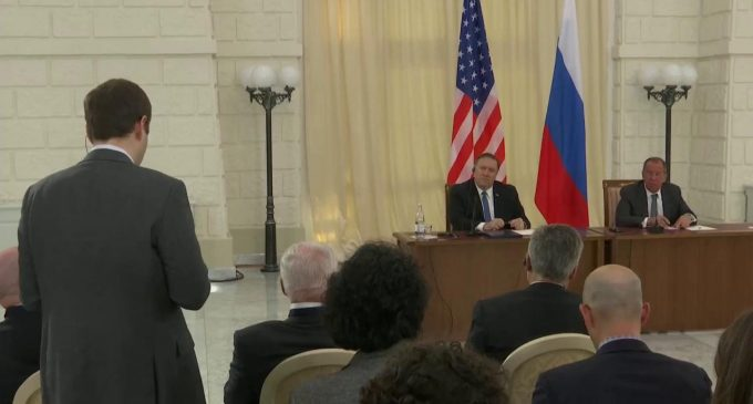 Michael R. Pompeo And Sergey Lavrov At a Joint Press Availability, by Sergey Lavrov, Mike Pompeo