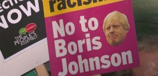 People demonstrate against Boris Johnson outside Downing Street