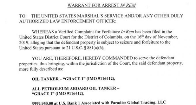 Justice Department officials get their dates wrong on 'Grace 1' warrant