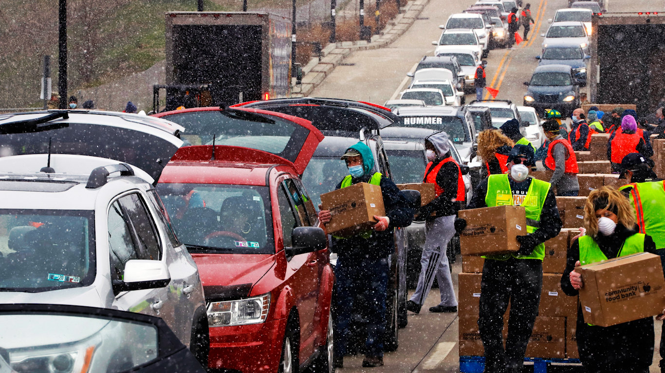 Long Breadlines Form Outside of Food Banks as America Struggles to Cope With COVID-19 Fallout