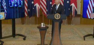Biden, Morrison & Johnson Announcing the Creation of AUKUS, by Boris Johnson, Joseph R. Biden Jr., Scott Morrison